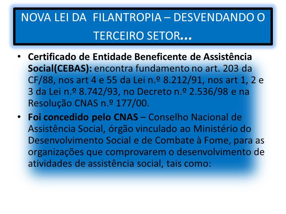 NOVA LEI DA FILANTROPIA – DESVENDANDO O TERCEIRO SETOR... Certificado de Entidade Beneficente de Assistência Social(CEBAS): encontra fundamento no art
