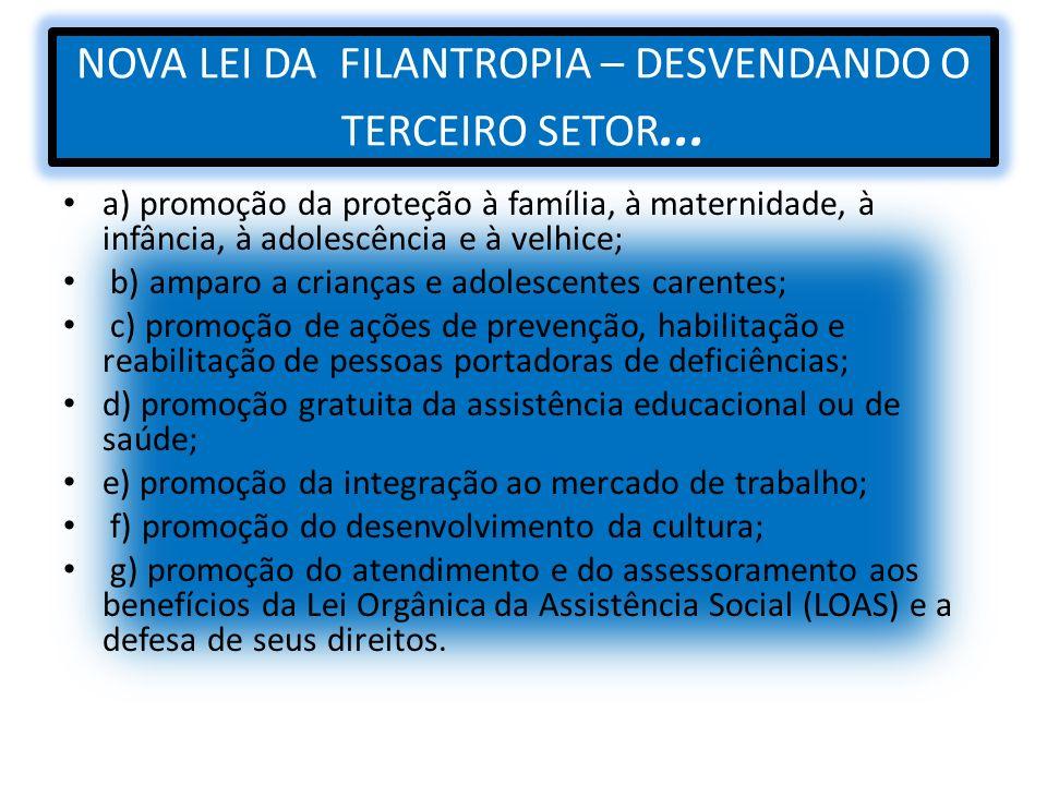 NOVA LEI DA FILANTROPIA – DESVENDANDO O TERCEIRO SETOR... a) promoção da proteção à família, à maternidade, à infância, à adolescência e à velhice; b)