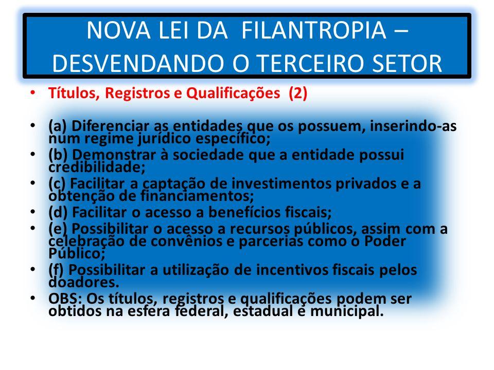 NOVA LEI DA FILANTROPIA – DESVENDANDO O TERCEIRO SETOR Títulos, Registros e Qualificações (2) (a) Diferenciar as entidades que os possuem, inserindo-a