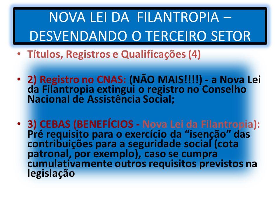 NOVA LEI DA FILANTROPIA – DESVENDANDO O TERCEIRO SETOR Títulos, Registros e Qualificações (4) 2) Registro no CNAS: (NÃO MAIS!!!!) - a Nova Lei da Fila