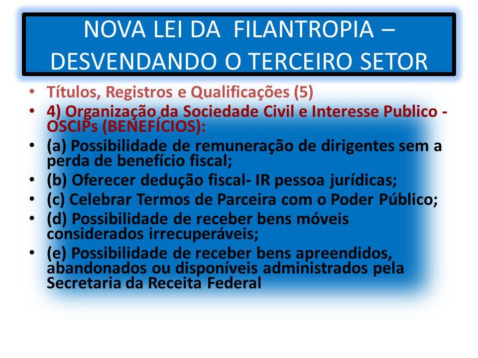 NOVA LEI DA FILANTROPIA – DESVENDANDO O TERCEIRO SETOR Títulos, Registros e Qualificações (5) 4) Organização da Sociedade Civil e Interesse Publico -