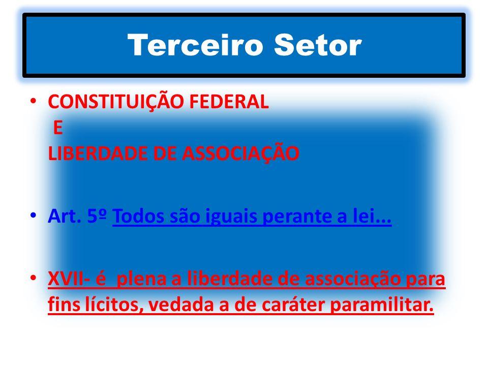 Terceiro Setor CONSTITUIÇÃO FEDERAL E LIBERDADE DE ASSOCIAÇÃO Art. 5º Todos são iguais perante a lei... XVII- é plena a liberdade de associação para f