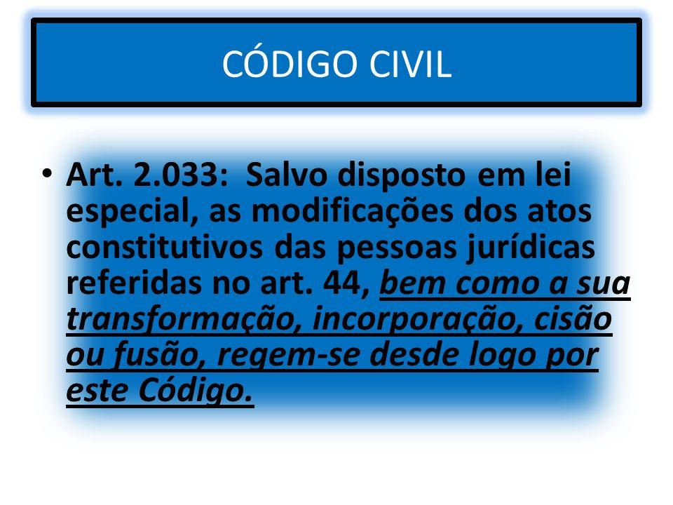 CÓDIGO CIVIL Art. 2.033: Salvo disposto em lei especial, as modificações dos atos constitutivos das pessoas jurídicas referidas no art. 44, bem como a