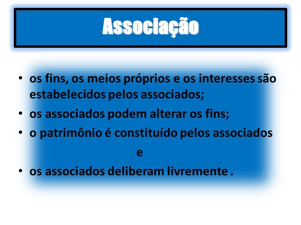 os fins, os meios próprios e os interesses são estabelecidos pelos associados; os associados podem alterar os fins; o patrimônio é constituído pelos a