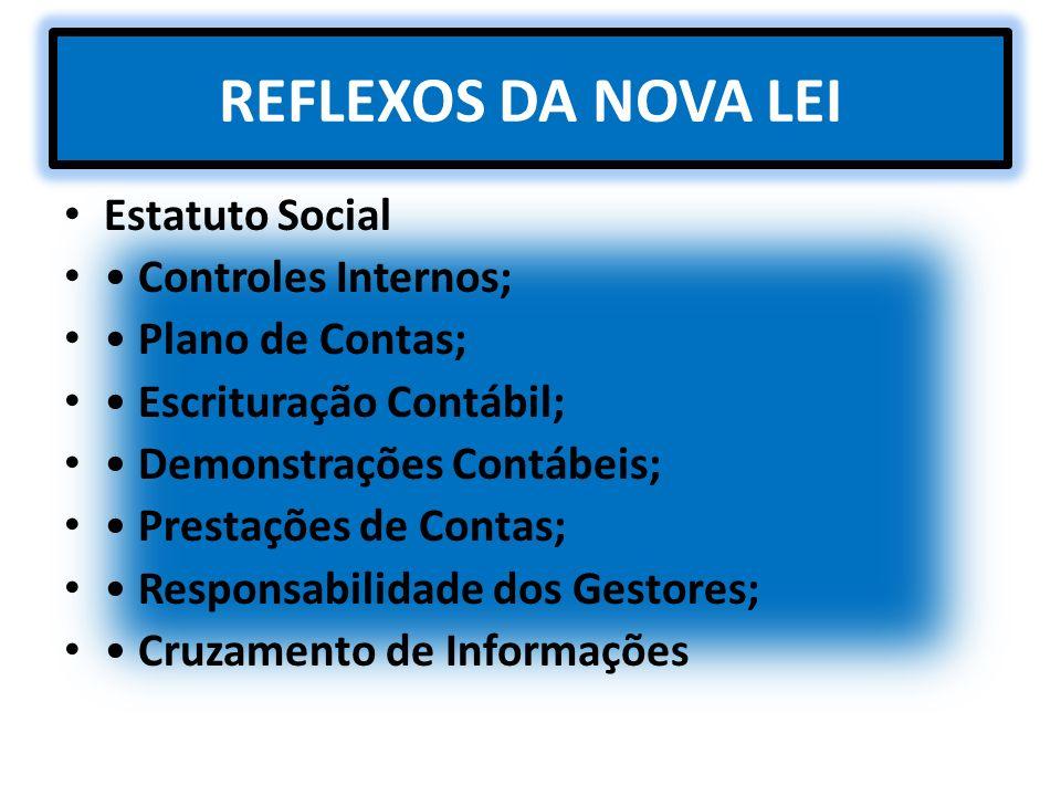 REFLEXOS DA NOVA LEI Estatuto Social Controles Internos; Plano de Contas; Escrituração Contábil; Demonstrações Contábeis; Prestações de Contas; Respon