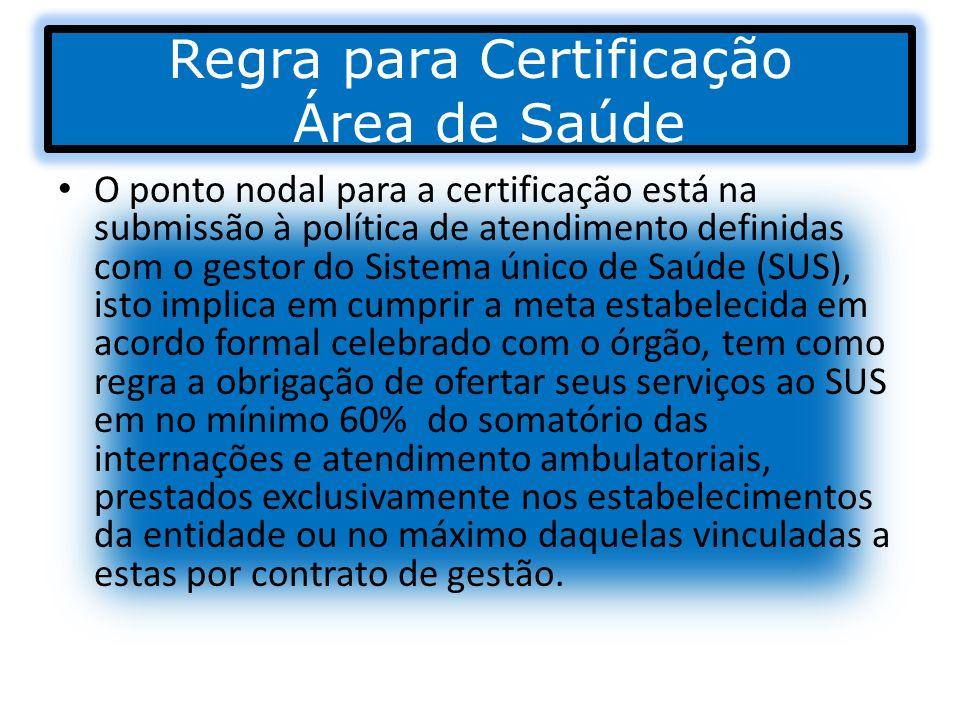 Regra para Certificação Área de Saúde O ponto nodal para a certificação está na submissão à política de atendimento definidas com o gestor do Sistema