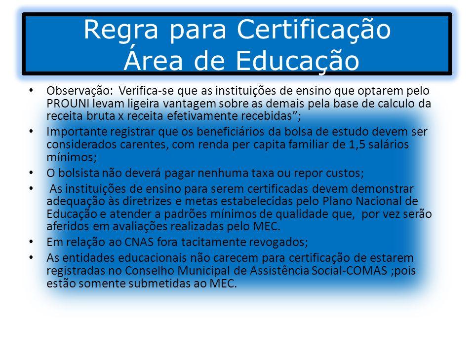 Regra para Certificação Área de Educação Observação: Verifica-se que as instituições de ensino que optarem pelo PROUNI levam ligeira vantagem sobre as