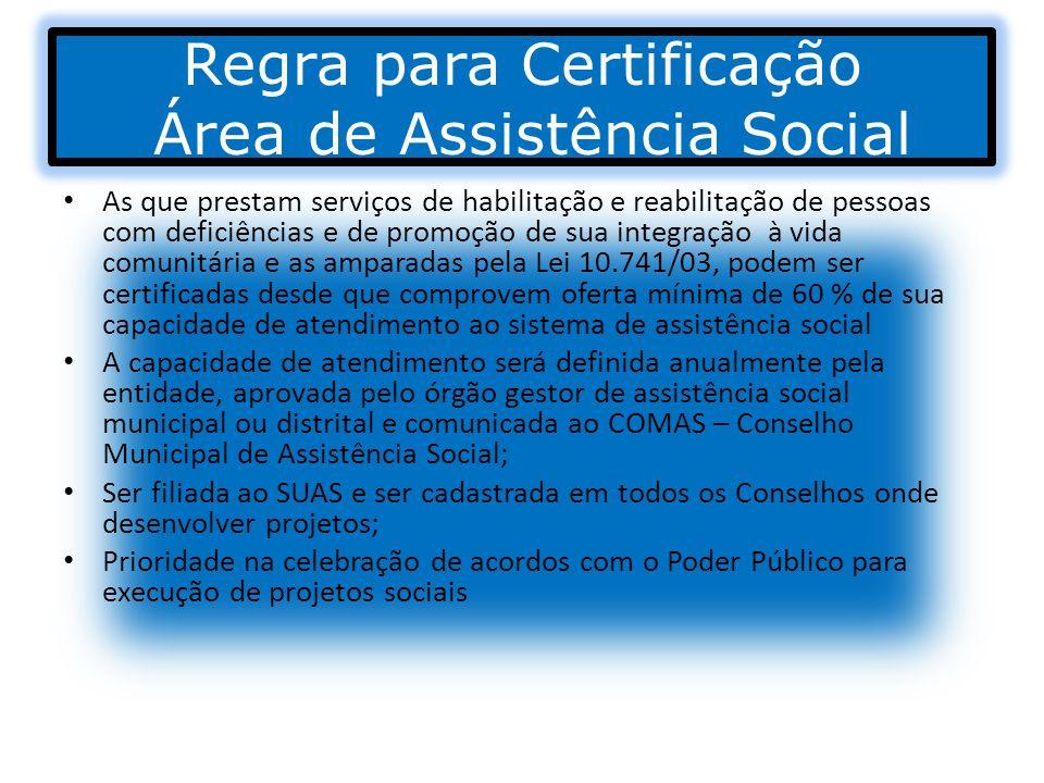 Regra para Certificação Área de Assistência Social As que prestam serviços de habilitação e reabilitação de pessoas com deficiências e de promoção de