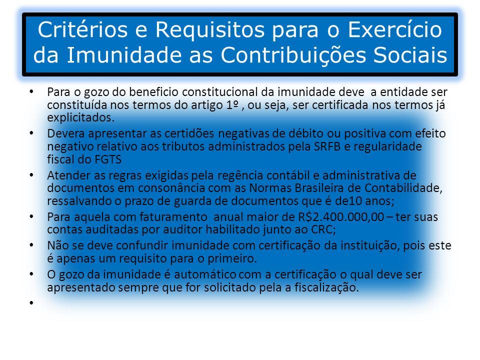 Critérios e Requisitos para o Exercício da Imunidade as Contribuições Sociais Para o gozo do beneficio constitucional da imunidade deve a entidade ser