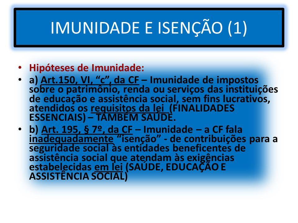 IMUNIDADE E ISENÇÃO (1) Hipóteses de Imunidade: a) Art.150, VI, c, da CF – Imunidade de impostos sobre o patrimônio, renda ou serviços das instituiçõe
