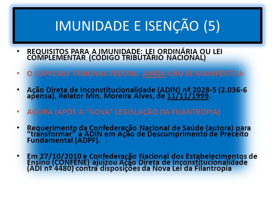 IMUNIDADE E ISENÇÃO (5) REQUISITOS PARA A IMUNIDADE: LEI ORDINÁRIA OU LEI COMPLEMENTAR (CÓDIGO TRIBUTÁRIO NACIONAL) O SUPREMO TRIBUNAL FEDERAL AINDA N