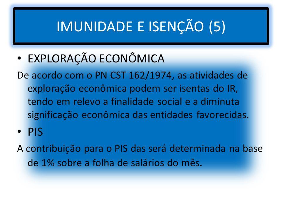 IMUNIDADE E ISENÇÃO (5) EXPLORAÇÃO ECONÔMICA De acordo com o PN CST 162/1974, as atividades de exploração econômica podem ser isentas do IR, tendo em