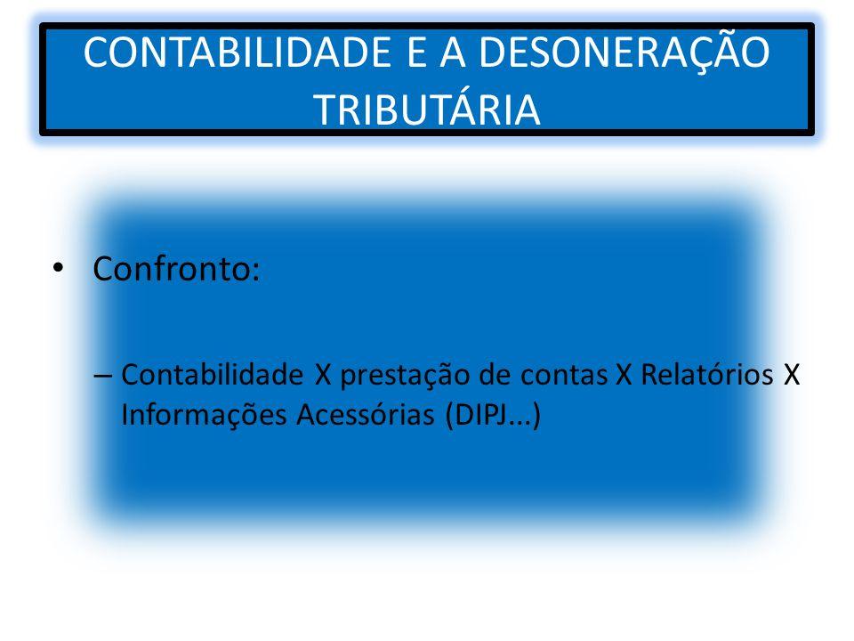 CONTABILIDADE E A DESONERAÇÃO TRIBUTÁRIA Confronto: – Contabilidade X prestação de contas X Relatórios X Informações Acessórias (DIPJ...)