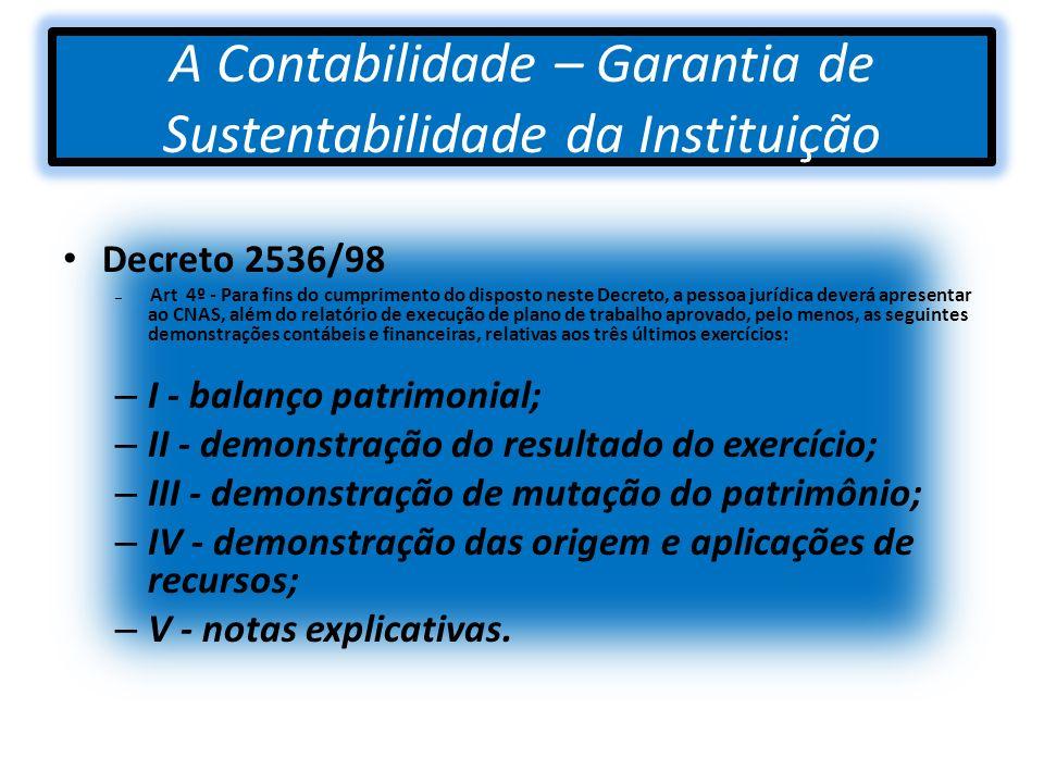 A Contabilidade – Garantia de Sustentabilidade da Instituição Decreto 2536/98 – Art 4º - Para fins do cumprimento do disposto neste Decreto, a pessoa