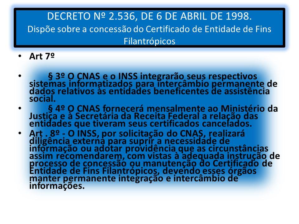 DECRETO Nº 2.536, DE 6 DE ABRIL DE 1998. Dispõe sobre a concessão do Certificado de Entidade de Fins Filantrópicos Art 7º § 3º O CNAS e o INSS integra