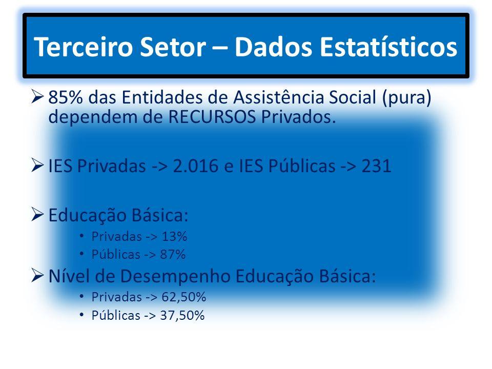 Terceiro Setor – Dados Estatísticos 85% das Entidades de Assistência Social (pura) dependem de RECURSOS Privados. IES Privadas -> 2.016 e IES Públicas