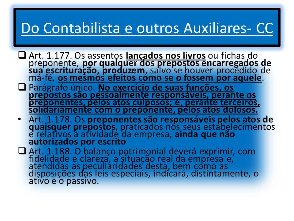 Do Contabilista e outros Auxiliares- CC Art. 1.177. Os assentos lançados nos livros ou fichas do preponente, por qualquer dos prepostos encarregados d