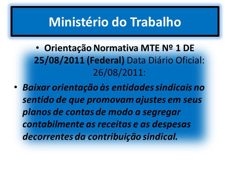 Ministério do Trabalho Orientação Normativa MTE Nº 1 DE 25/08/2011 (Federal) Data Diário Oficial: 26/08/2011: Baixar orientação às entidades sindicais