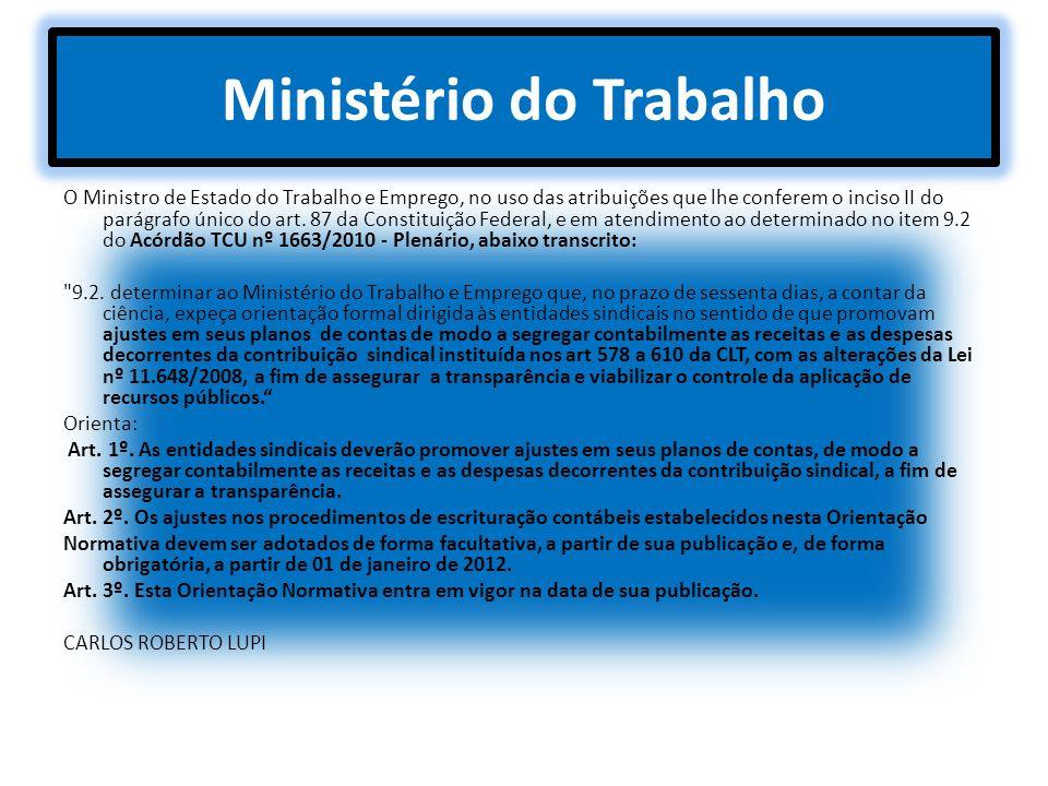 Ministério do Trabalho O Ministro de Estado do Trabalho e Emprego, no uso das atribuições que lhe conferem o inciso II do parágrafo único do art. 87 d