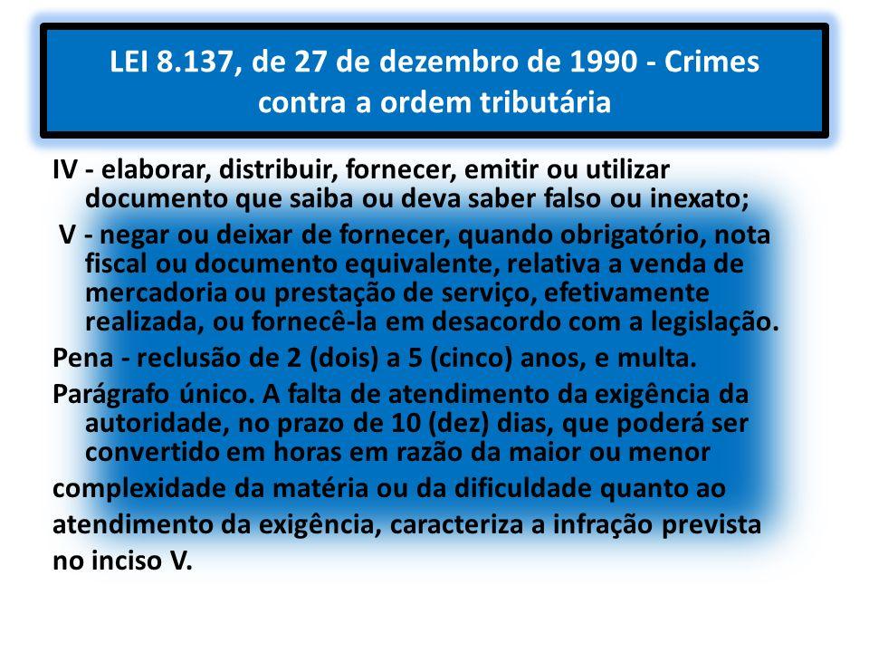 LEI 8.137, de 27 de dezembro de 1990 - Crimes contra a ordem tributária IV - elaborar, distribuir, fornecer, emitir ou utilizar documento que saiba ou