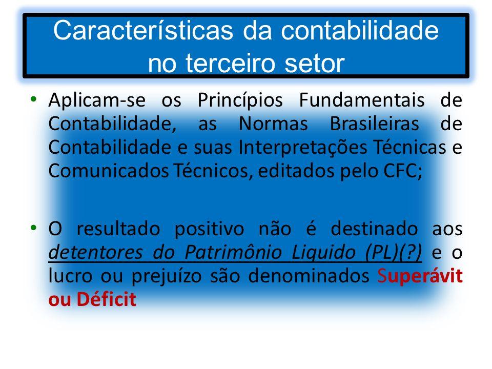 Características da contabilidade no terceiro setor Aplicam-se os Princípios Fundamentais de Contabilidade, as Normas Brasileiras de Contabilidade e su