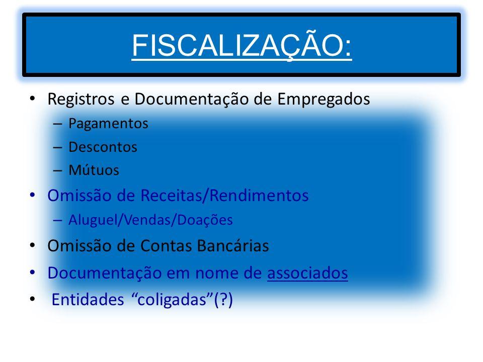 FISCALIZAÇÃO: Registros e Documentação de Empregados – Pagamentos – Descontos – Mútuos Omissão de Receitas/Rendimentos – Aluguel/Vendas/Doações Omissã