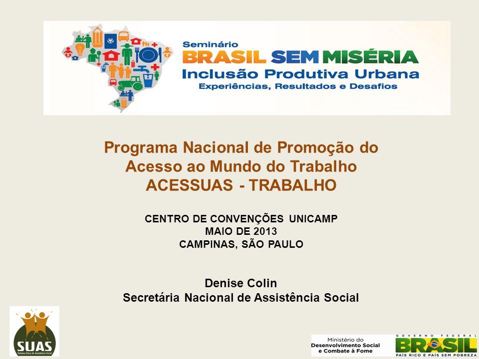 Programa Nacional de Promoção do Acesso ao Mundo do Trabalho ACESSUAS - TRABALHO CENTRO DE CONVENÇÕES UNICAMP MAIO DE 2013 CAMPINAS, SÃO PAULO Denise