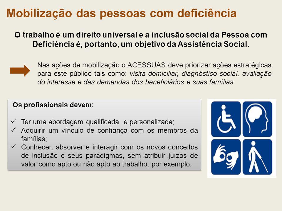 O trabalho é um direito universal e a inclusão social da Pessoa com Deficiência é, portanto, um objetivo da Assistência Social. Os profissionais devem