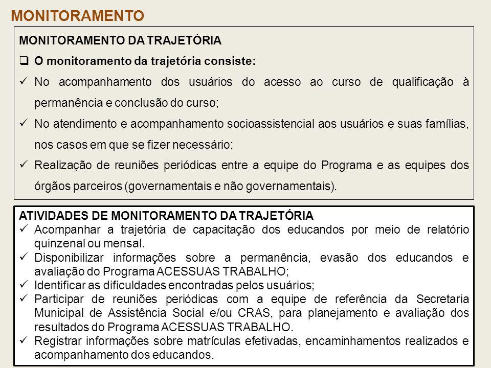 ATIVIDADES DE MONITORAMENTO DA TRAJETÓRIA Acompanhar a trajetória de capacitação dos educandos por meio de relatório quinzenal ou mensal. Disponibiliz