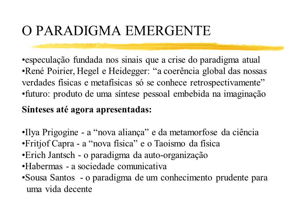 O PARADIGMA EMERGENTE especulação fundada nos sinais que a crise do paradigma atual René Poirier, Hegel e Heidegger: a coerência global das nossas ver