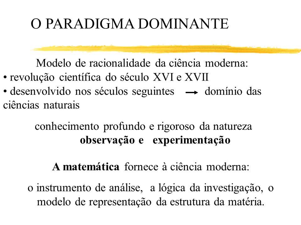 O PARADIGMA DOMINANTE Modelo de racionalidade da ciência moderna: revolução científica do século XVI e XVII desenvolvido nos séculos seguintes domínio