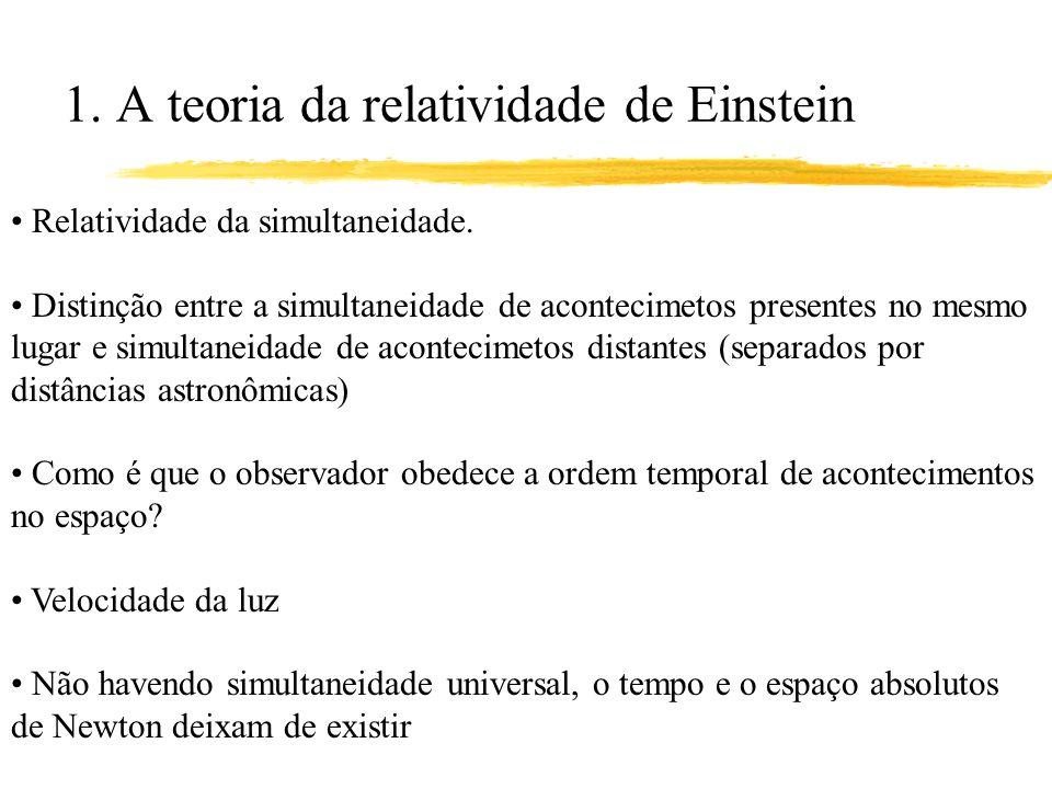 1. A teoria da relatividade de Einstein Relatividade da simultaneidade. Distinção entre a simultaneidade de acontecimetos presentes no mesmo lugar e s