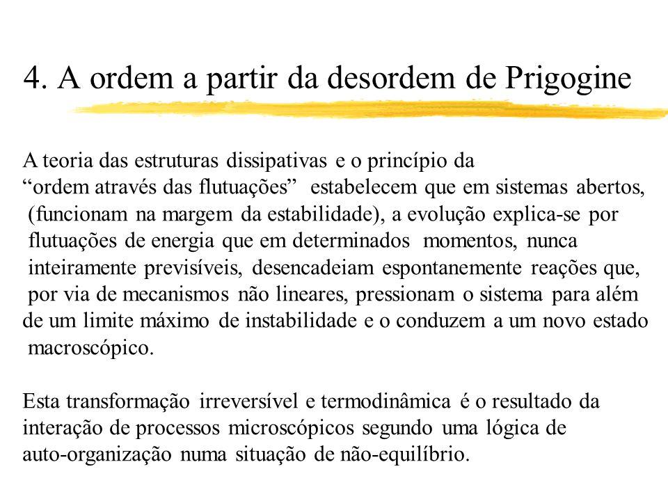 4. A ordem a partir da desordem de Prigogine A teoria das estruturas dissipativas e o princípio da ordem através das flutuações estabelecem que em sis