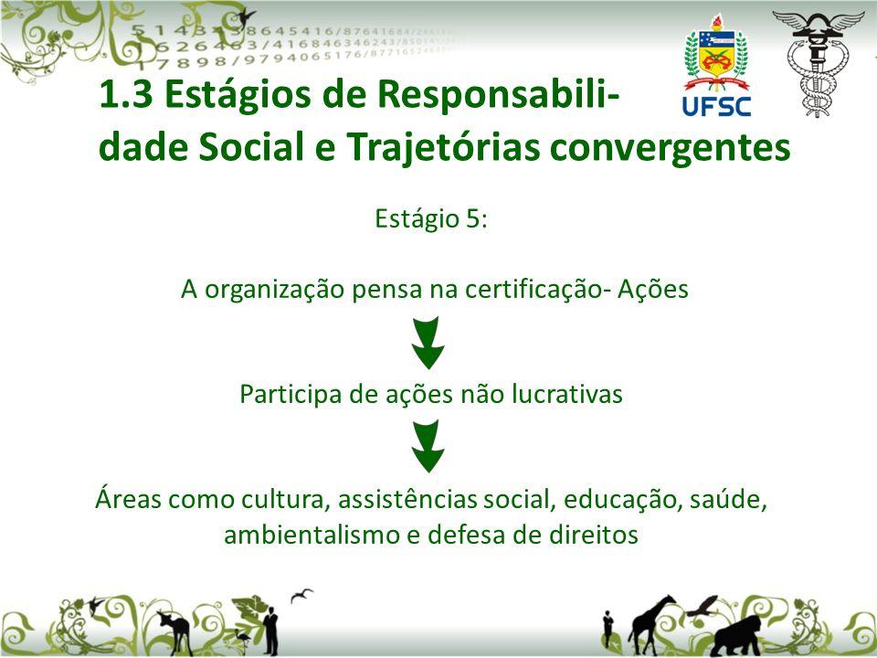 Estágio 5: A organização pensa na certificação- Ações Participa de ações não lucrativas Áreas como cultura, assistências social, educação, saúde, ambientalismo e defesa de direitos 1.3 Estágios de Responsabili- dade Social e Trajetórias convergentes