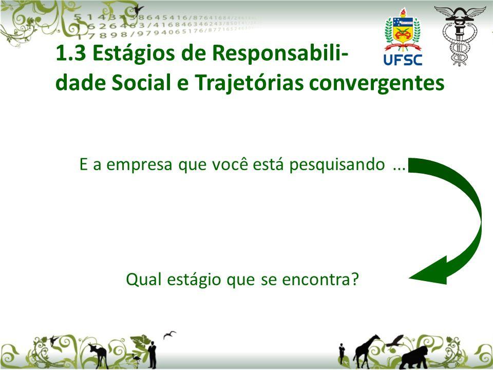 E a empresa que você está pesquisando... Qual estágio que se encontra? 1.3 Estágios de Responsabili- dade Social e Trajetórias convergentes