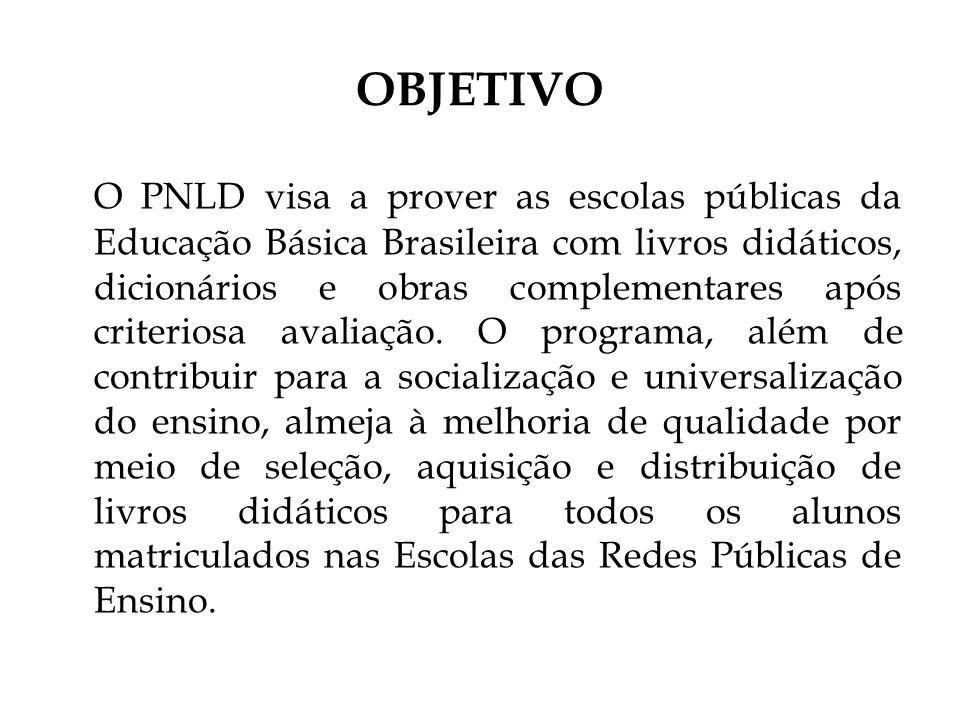 OBJETIVO O PNLD visa a prover as escolas públicas da Educação Básica Brasileira com livros didáticos, dicionários e obras complementares após criteriosa avaliação.