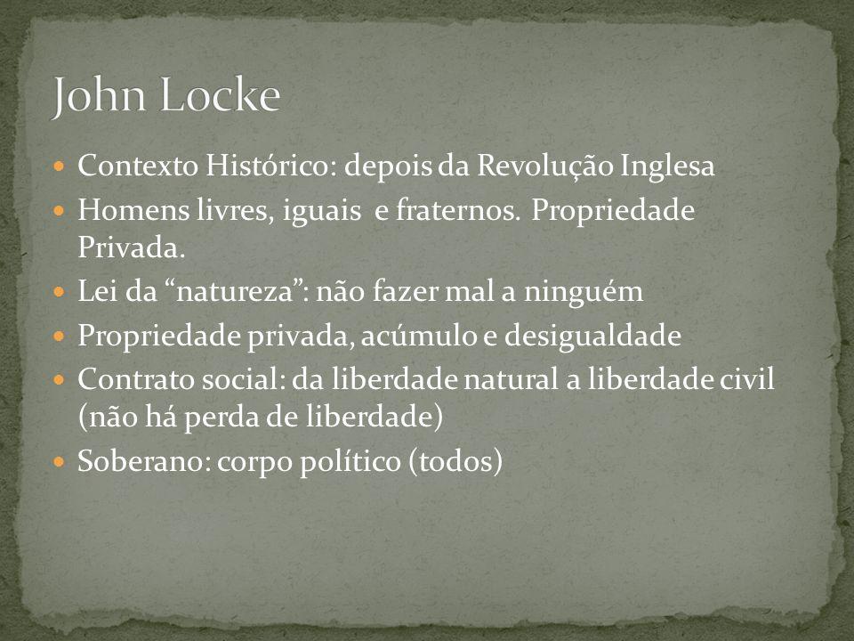 Contexto Histórico: depois da Revolução Inglesa Homens livres, iguais e fraternos.