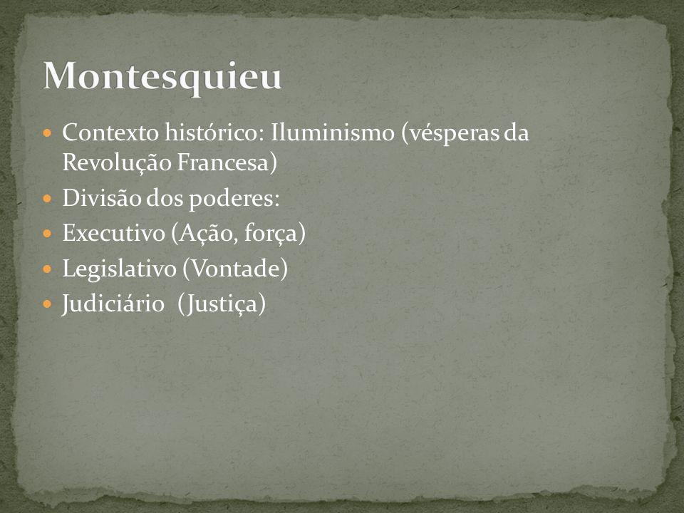 Contexto histórico: Iluminismo (vésperas da Revolução Francesa) Divisão dos poderes: Executivo (Ação, força) Legislativo (Vontade) Judiciário (Justiça)
