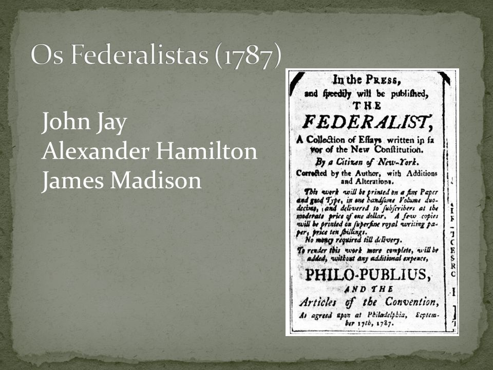 John Jay Alexander Hamilton James Madison