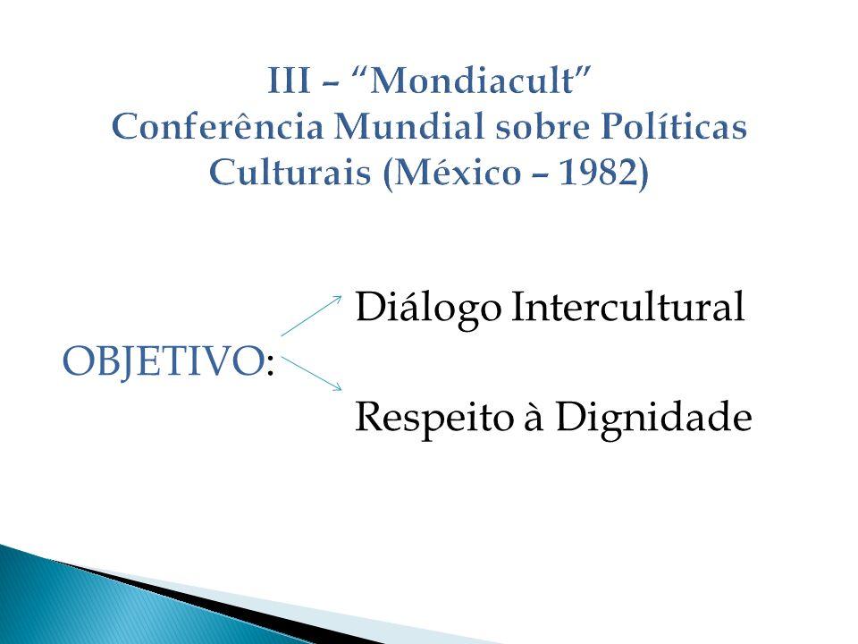 Diálogo Intercultural OBJETIVO: Respeito à Dignidade