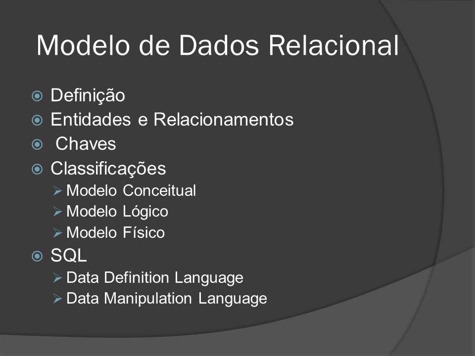 Definição Entidades e Relacionamentos Chaves Classificações Modelo Conceitual Modelo Lógico Modelo Físico SQL Data Definition Language Data Manipulati