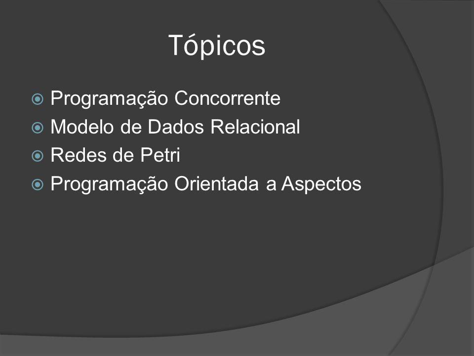 Tópicos Programação Concorrente Modelo de Dados Relacional Redes de Petri Programação Orientada a Aspectos
