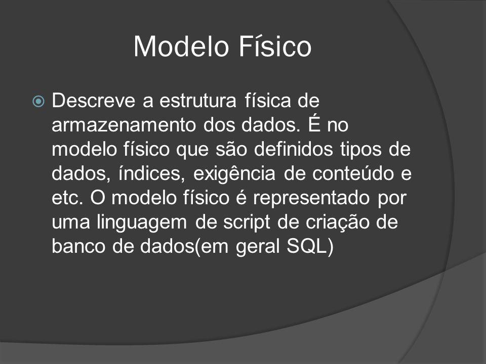 Modelo Físico Descreve a estrutura física de armazenamento dos dados. É no modelo físico que são definidos tipos de dados, índices, exigência de conte