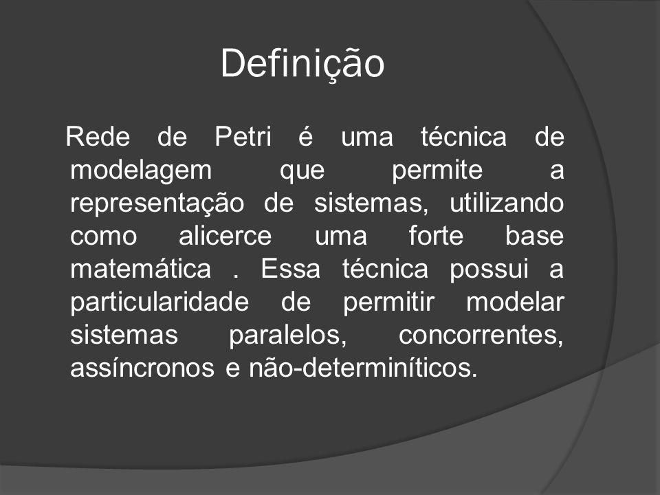 Definição Rede de Petri é uma técnica de modelagem que permite a representação de sistemas, utilizando como alicerce uma forte base matemática. Essa t