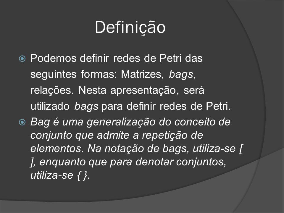 Definição Podemos definir redes de Petri das seguintes formas: Matrizes, bags, relações. Nesta apresentação, será utilizado bags para definir redes de