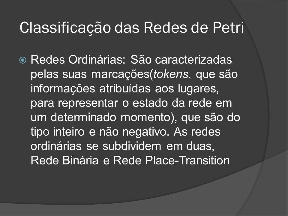 Classificação das Redes de Petri Redes Ordinárias: São caracterizadas pelas suas marcações(tokens. que são informações atribuídas aos lugares, para re