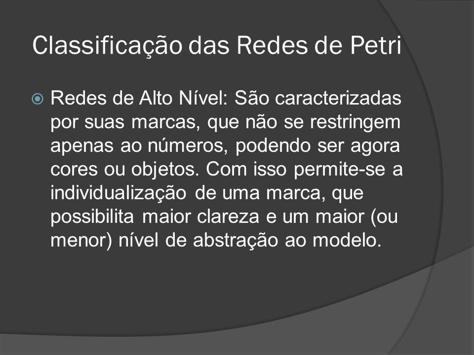 Classificação das Redes de Petri Redes de Alto Nível: São caracterizadas por suas marcas, que não se restringem apenas ao números, podendo ser agora c