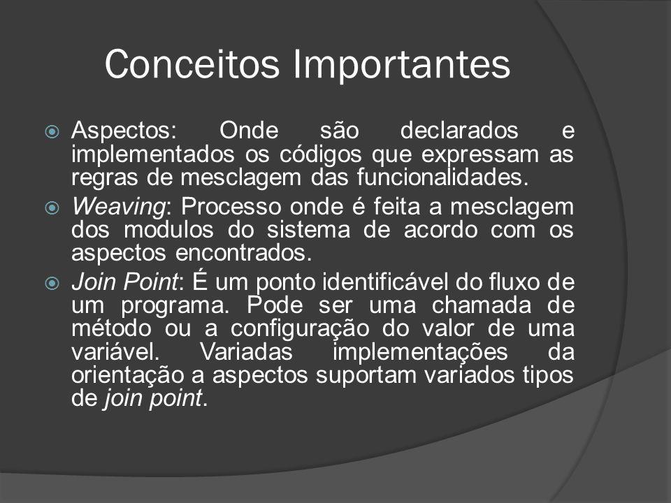 Conceitos Importantes Aspectos: Onde são declarados e implementados os códigos que expressam as regras de mesclagem das funcionalidades. Weaving: Proc