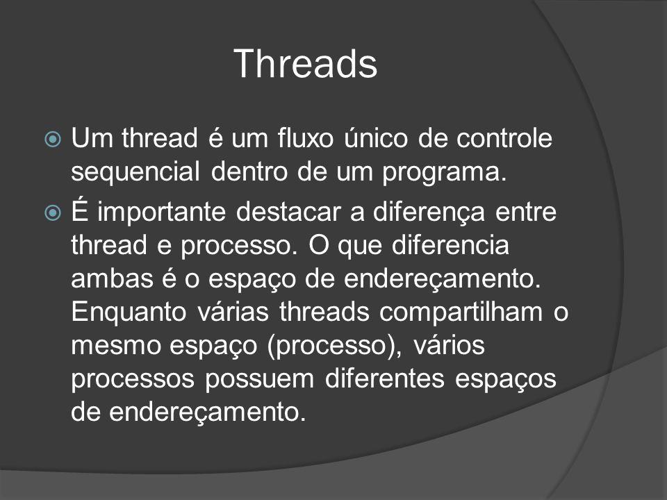 Threads Um thread é um fluxo único de controle sequencial dentro de um programa. É importante destacar a diferença entre thread e processo. O que dife