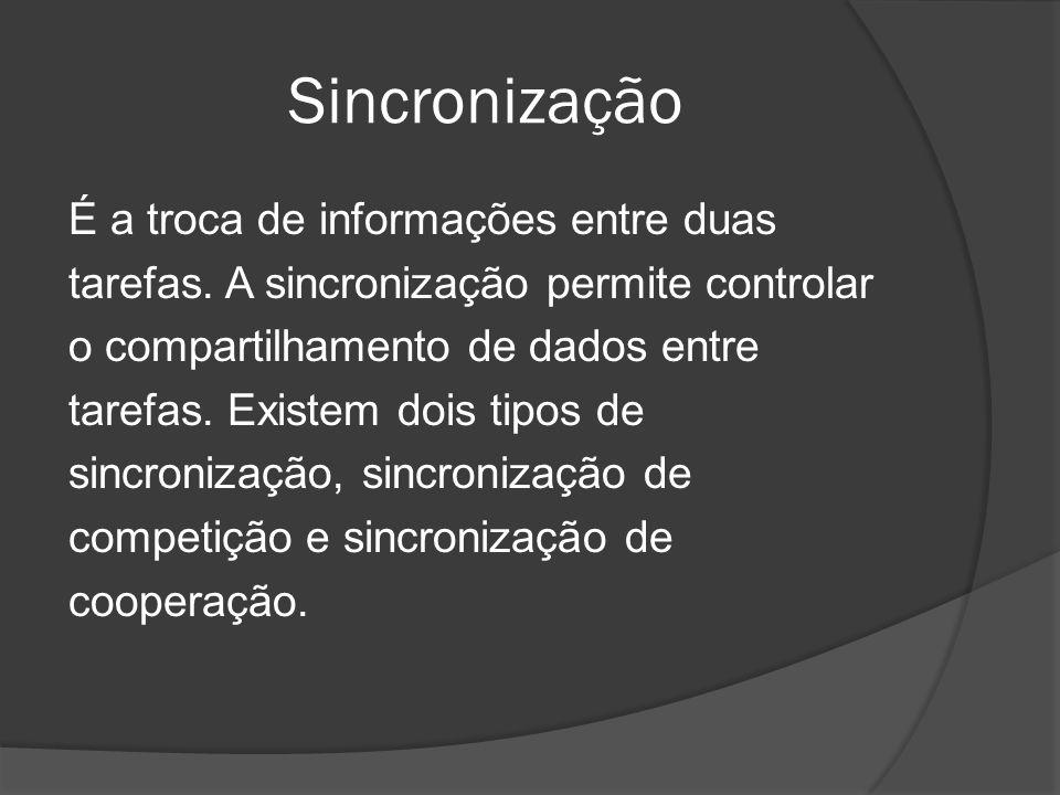 Sincronização É a troca de informações entre duas tarefas. A sincronização permite controlar o compartilhamento de dados entre tarefas. Existem dois t